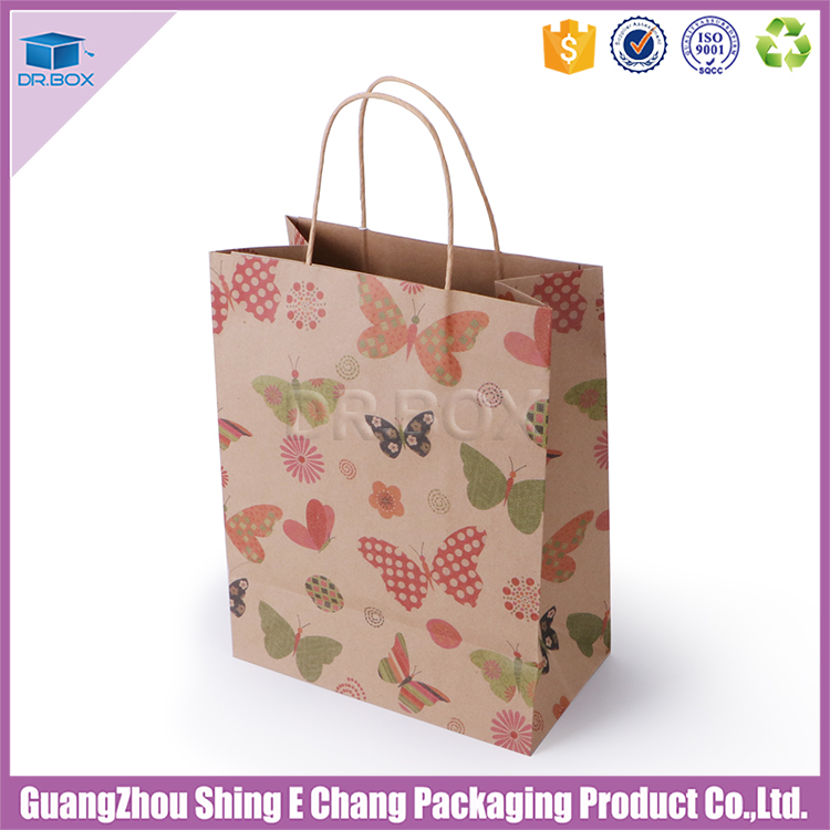 Custom eco friendly recycled shopping bag paper brown kraft paper bag with twisted paper rope