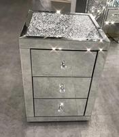 Mirrored Diamond Crushed Nightstand mirrored bedside table Night Table