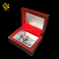 Back With USD 100 Bills Silver Foil Playing Card with luxurious wooden box
