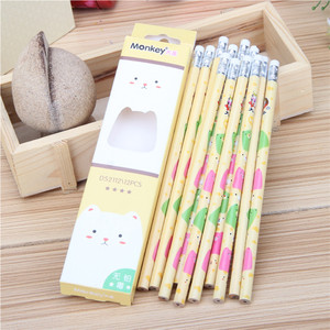 Good quality school test healthy round HB led pencil with pattern design