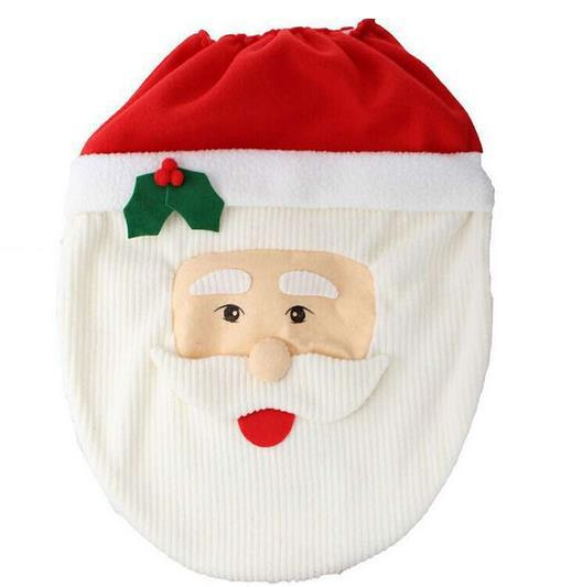Christmas Bathroom Decoration Happy Santa Toilet Seat Cover And Rug Set