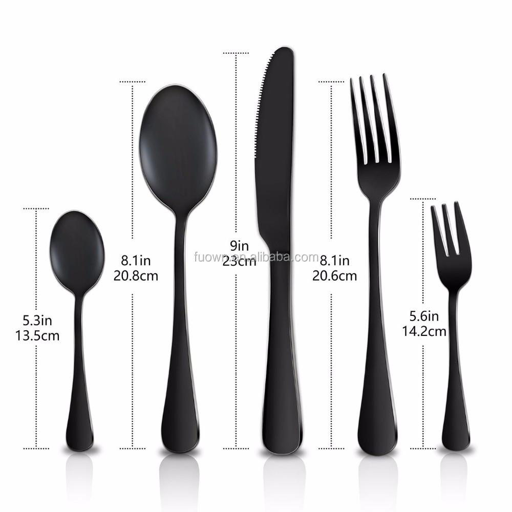 काले मढ़वाया flatware सेट लोकप्रिय काले टाइटेनियम के लिए 4pcs flatware सेट चम्मच कांटा चाकू