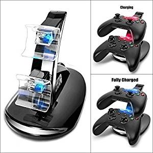 RINE COOOO LED USB Dual Charger Controller Stand Charging Charge Dock Stand for Microsoft X-BOX ONE Controller Black