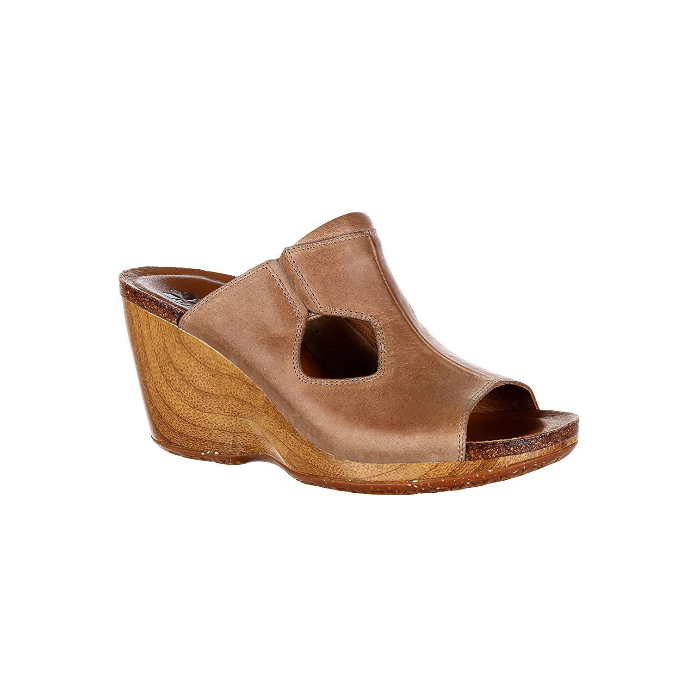4EurSole Rocky Joyful Women's Brown Leather Slide Shoe-RKH080