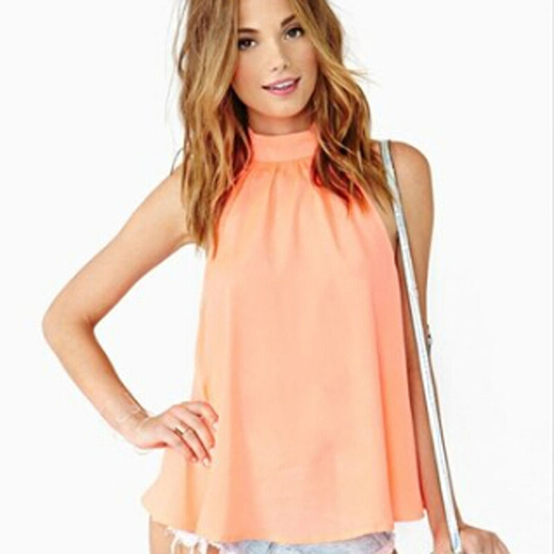 f579b2cac0252 Get Quotations · Top Woman 2015 New Summer Style Casual Turtleneck  Sleeveless Plus Size Shoulder Loose Women Chiffon Blouse