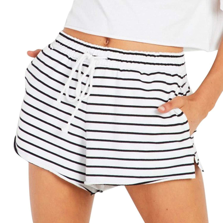 Jofemuho Womens Summer Wide Leg Cotton Floral Print High Waist Beach Shorts Boardshort Swim Trunk
