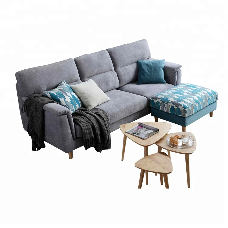 UK style 3 seat grey fabric sofa with removable stool