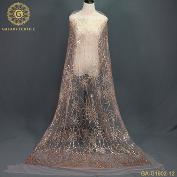High quality rose gold glitter lace fabric GA-G1902-012