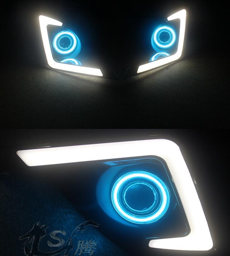 Белый из светодиодов DRL + COB глаза ангела ( 6 цветов ) + H3 противотуманная фара + объектив проектора для toyota левин