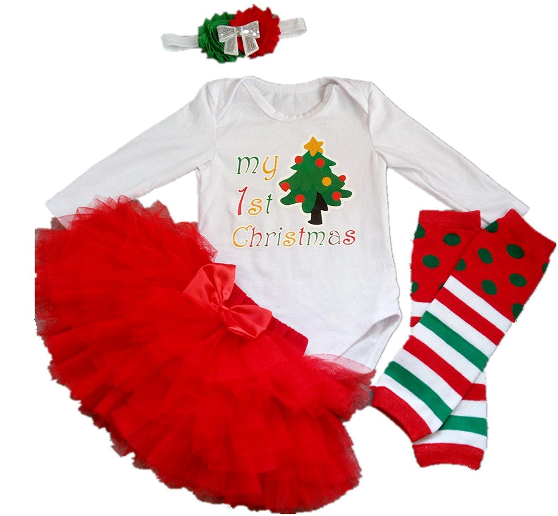 213e224cf AISHIONY Baby Girl My 1st Christmas Tutu Outfit Costume Newborn Dress 4PCS