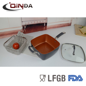 9 inch copper square fry pan with lid