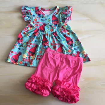 Troll Summer Baby Girls Clothing Kids Boutique Clothes Ruffles Shorts Sets Children Summer Boutique Outfits