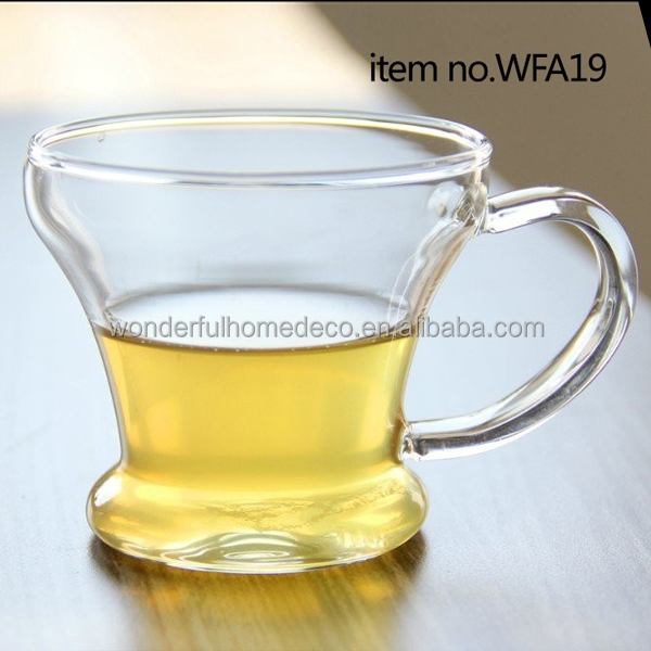 heat resistant pyrex glass tea cups with handle