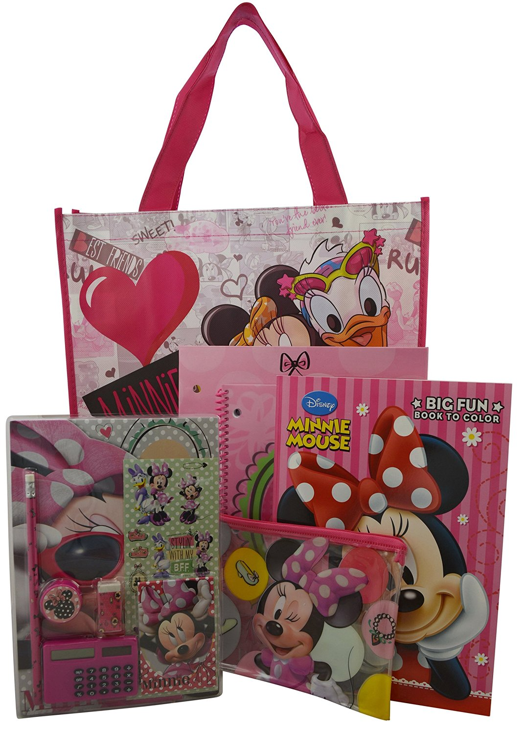 Disney Minnie Mouse Deluxe 12 Pieces School Supplies Stationery Set and Large Tote Bag