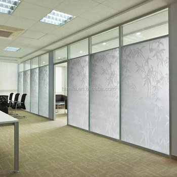 Opaque privacy glass window film embossing bamboo 3d static cling film frosted window stickers living room