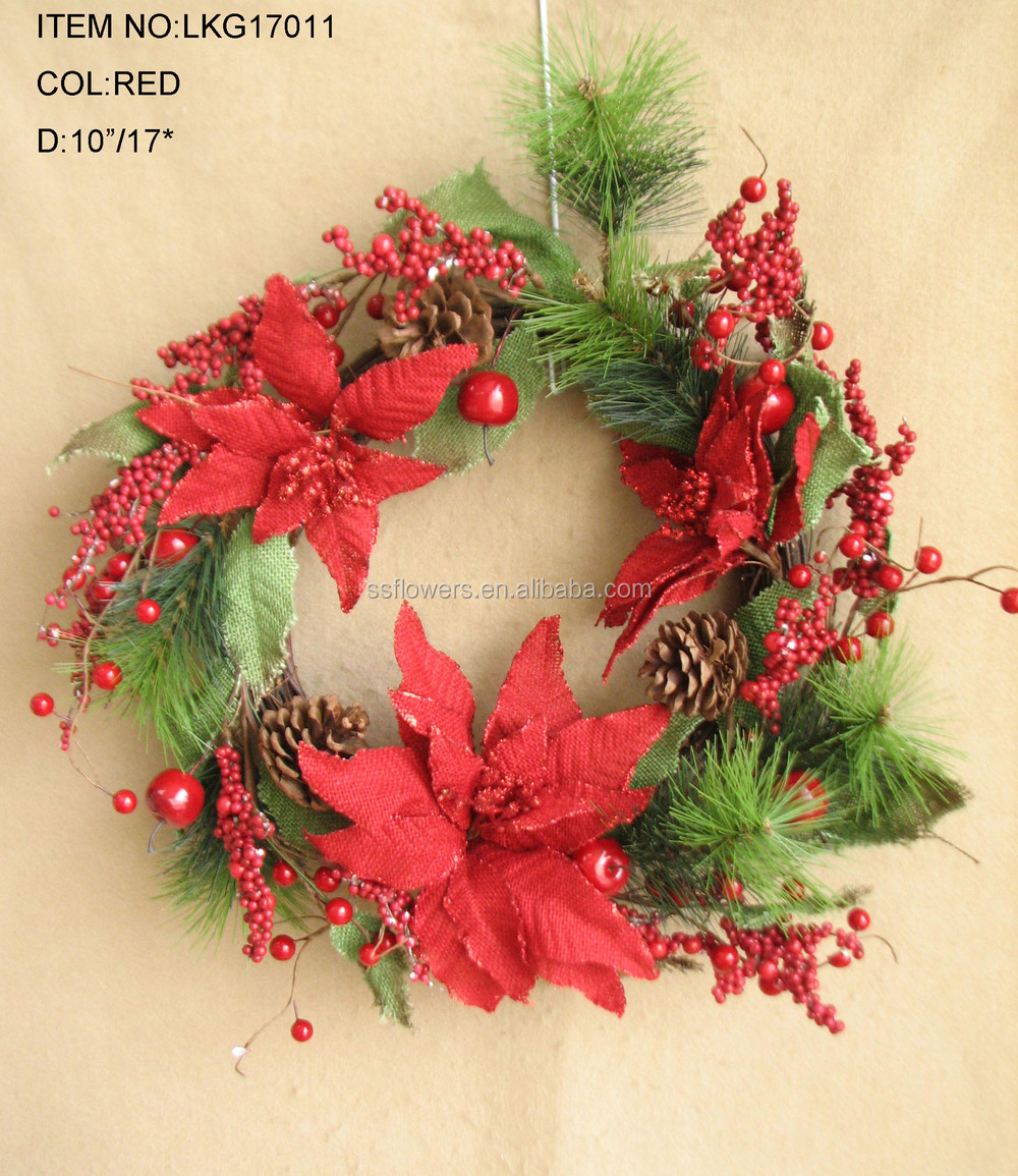 Popular Artificial Flower Wreath With Red Berries Poinsettia ...