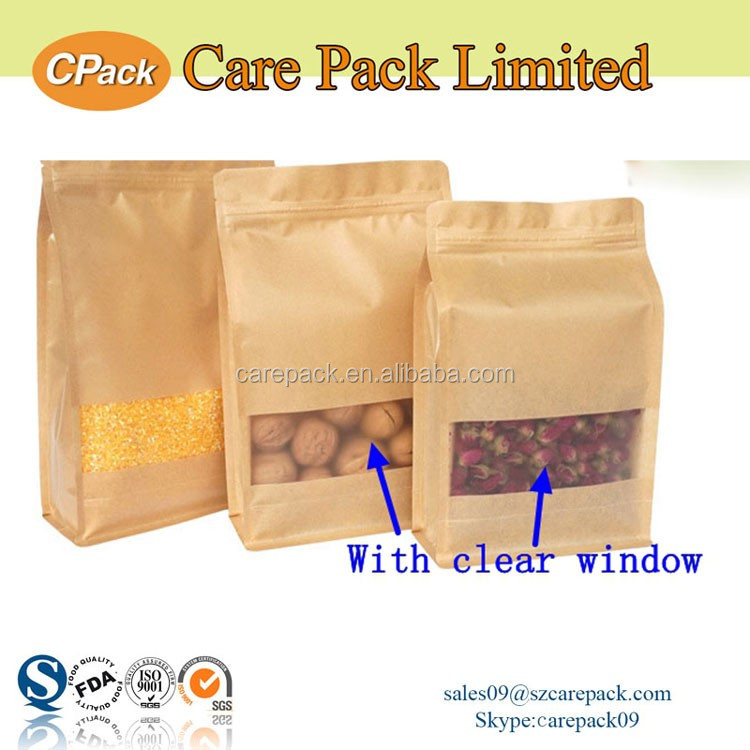 Custom printing resealable window flat bottom kraft paper bag