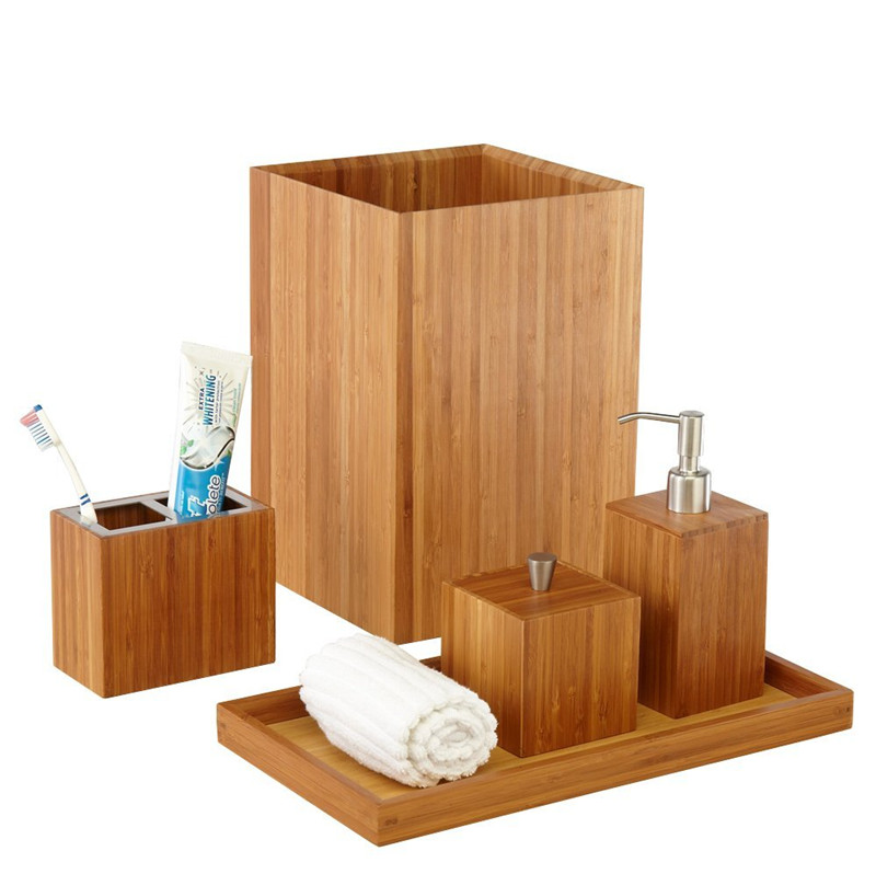 luxury bathroom accessories made of natural bamboo soap dispenser, towel tray, toothbrush holder