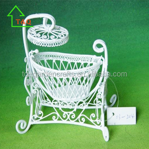 Vintage Cast Iron Miniature Dollhouse Baby Cradle Swing