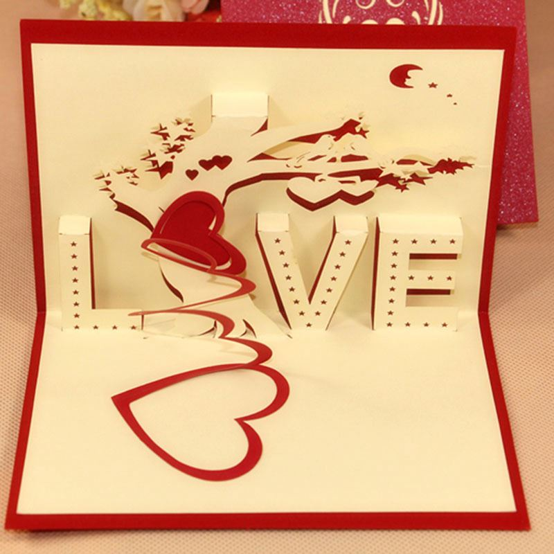 LOVE laser cut 3d greeting card for wedding favor