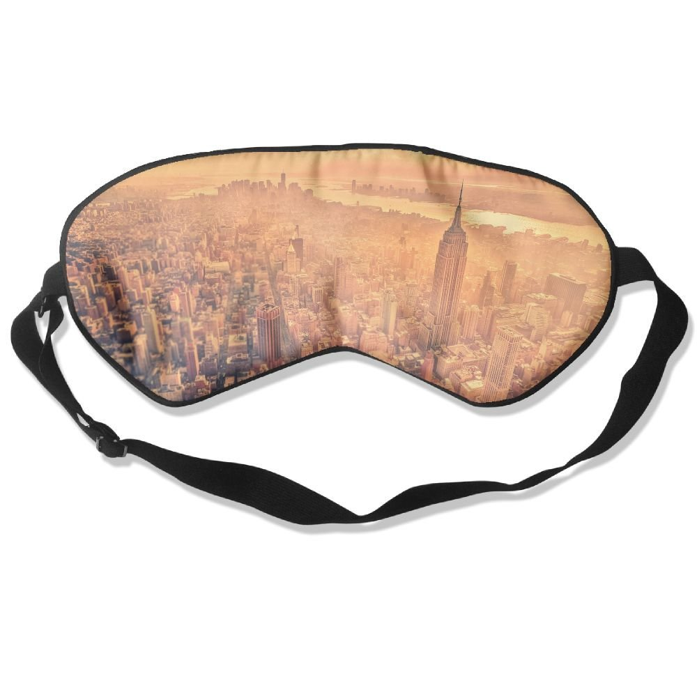 Madge Kelley Eye Mask Adjustable-Strap Eyeshade Sleeping Mask Skin-Friendly City Birds Eye View Blindfold Night Sleep Travel