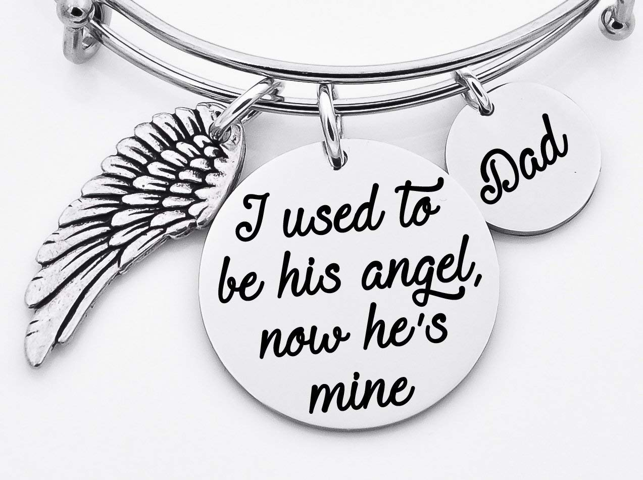 Memorial jewelry, I used to be his angel, now he's mine, bangle bracelet, stainless steel bangle, loss of loved one, sympathy gift, Mom, Dad, name, adjustable bangle bracelet,