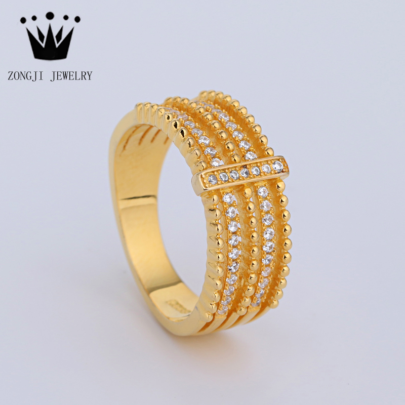 925 Sterling Silver Dubai Gold Ring Design For Women Wedding