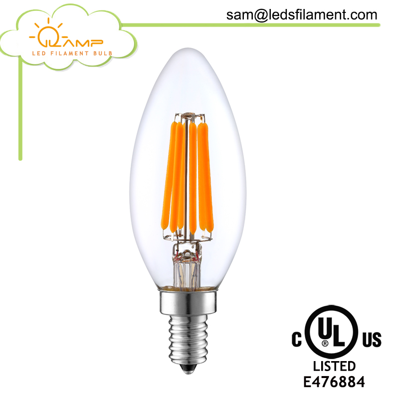 New Lights Long Lifespan led candle light for chandelier e12 e14 C35 led filament bulb with CE UL