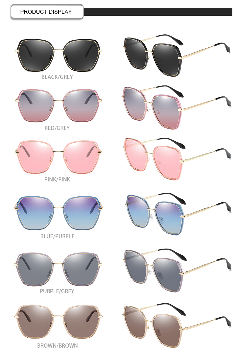 2019 New arrival hot sale women polygon sunglasses fancy shipping metal frame uv400 oversized sunglasses