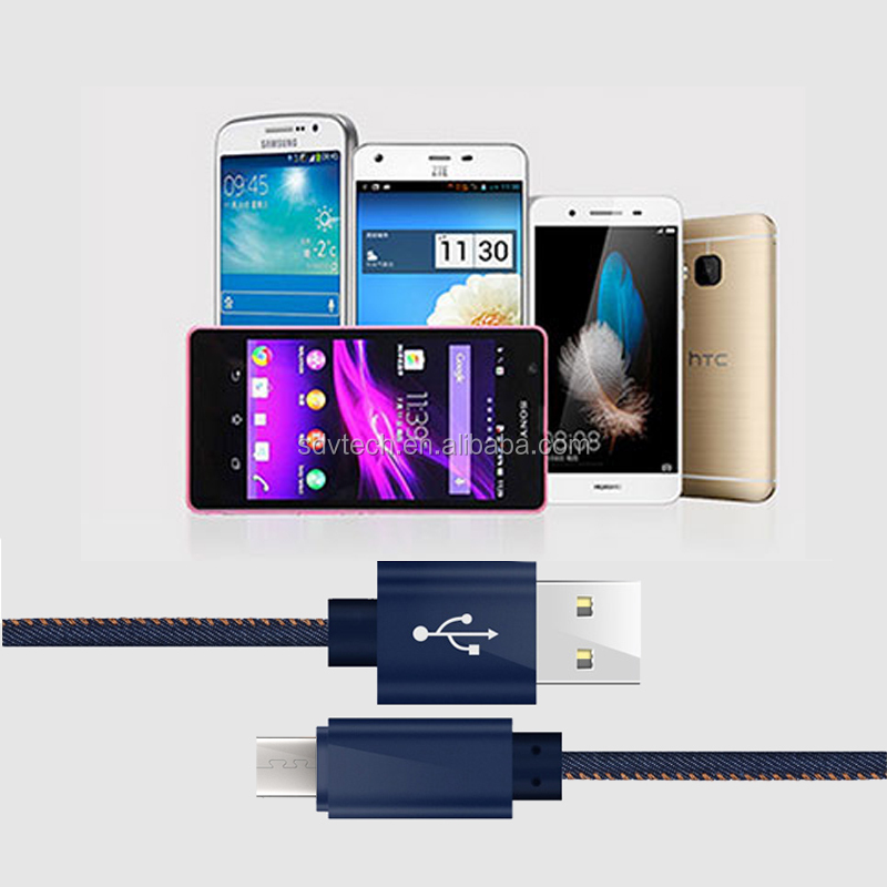 High Quality Data Cable Electric Manufacturer Jean Cloth Micro Multi Data Charging USB Cable