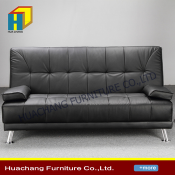 Pu Leather Convertible 3 Seater Sofa Bed Futon