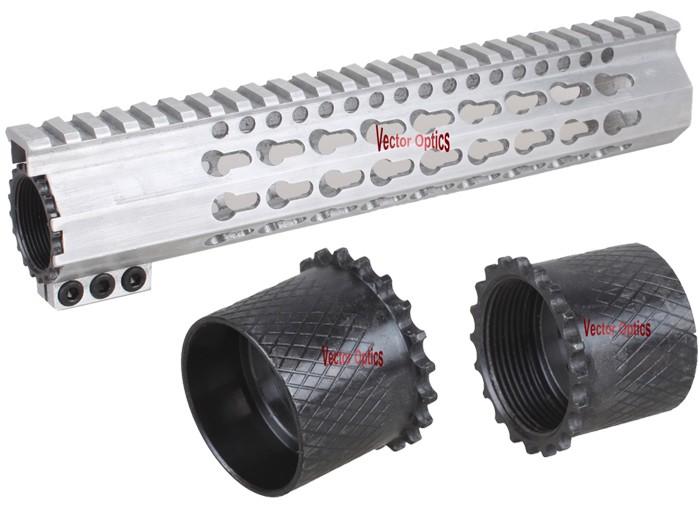 7 10 12 15 Raw Aluminum Ar 15 Free Float Keymod Hand Guard Picatinny Quad  Rail With Steel Barrel Nut In The White For Ar15 - Buy Quad Rail,Picatinny
