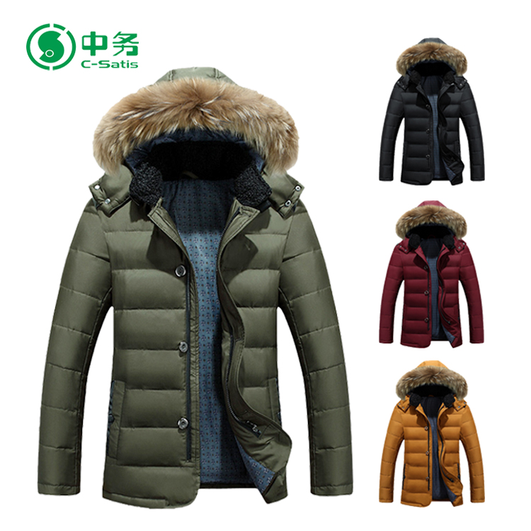 High Quality Custom Winter Windproof Clothing Green Hooded Mens Parka Jacket