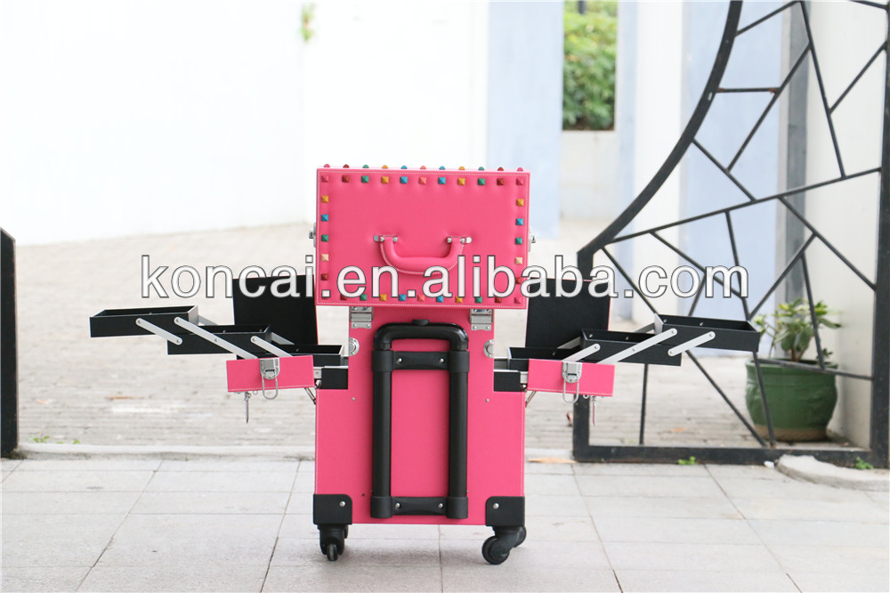 PVC /Aluminum professional makeup trolley case , professional cosmetic trolley case, 360 degree wheels &  style