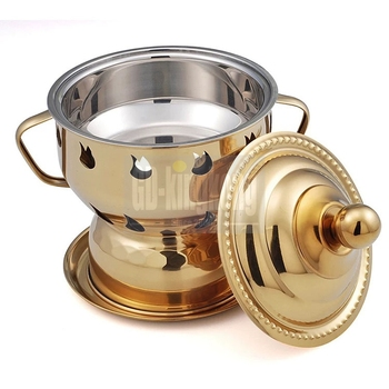 Single Mini Small Restaurant Gold Furnace food warmer Stainless Steel stock pot Conjoined hot pot Shabu Shabu Alcohol Stove