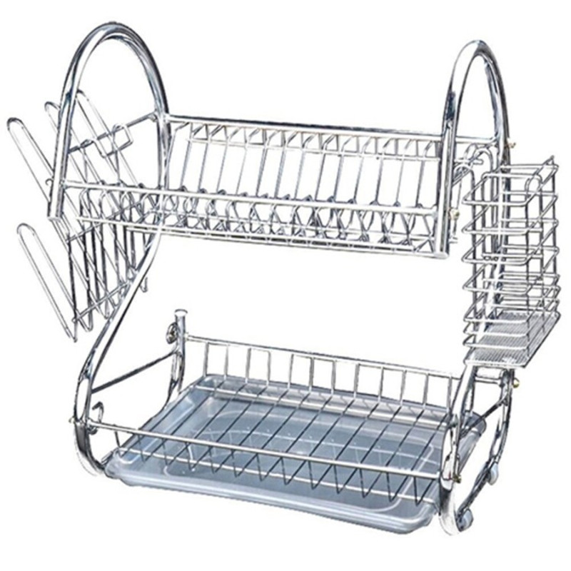 double tier stainless steel dish rack space saver dish drainer drying rack 20 inch in storage. Black Bedroom Furniture Sets. Home Design Ideas