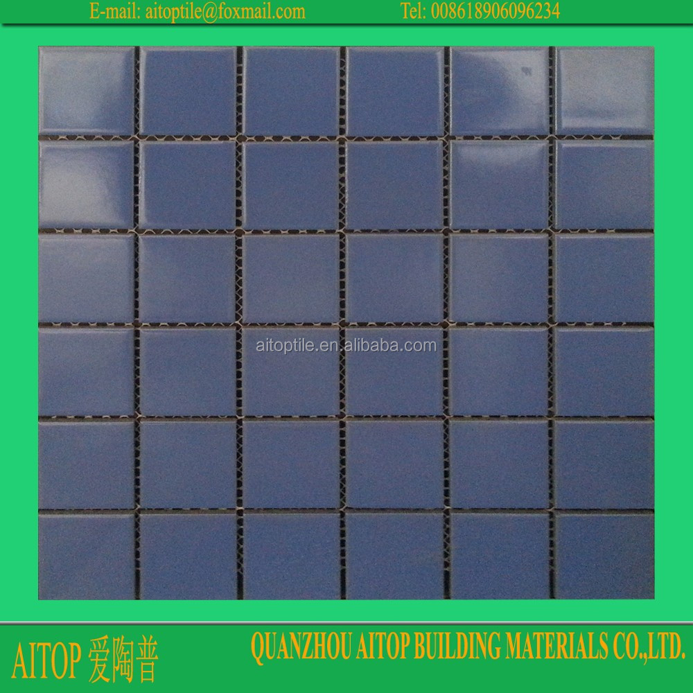 Blue Swimming Pool Shower Floor Mesh Backed Mosaic Tiles Small Size ...