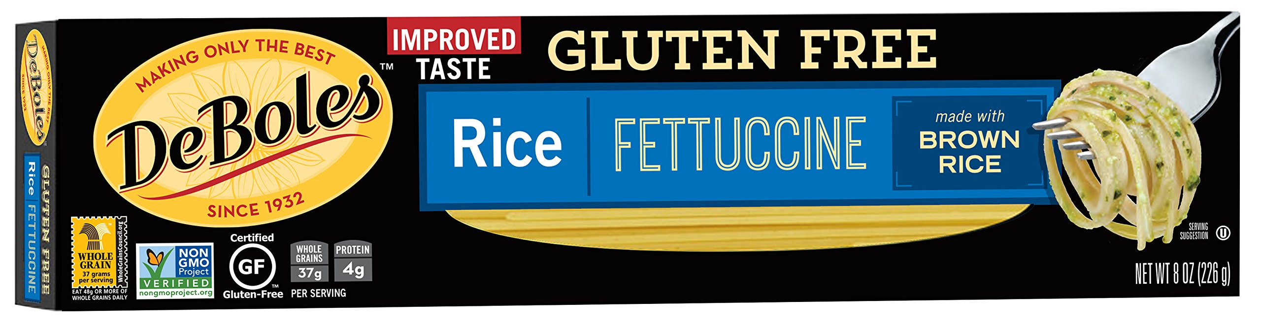 DeBoles Gluten-Free Rice Pasta, Fettuccine, 8 Ounce (Pack of 12) (Packaging may Vary)