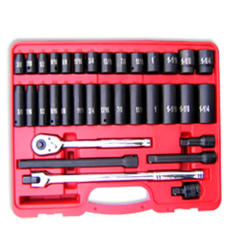 """ESKALEX>>34 pc 1/2"""" Dr. Hi-Viz Impact Socket Set SAE And 34pc 1/2"""" Dr. Hi-Viz Impact Socket & Accessory Set, SAE"""