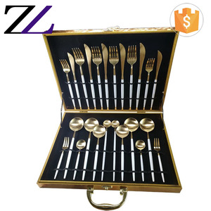Names of luxury flatware cutlery set items travel case box gold head stainless steel 24pcs cutlery set with white handle
