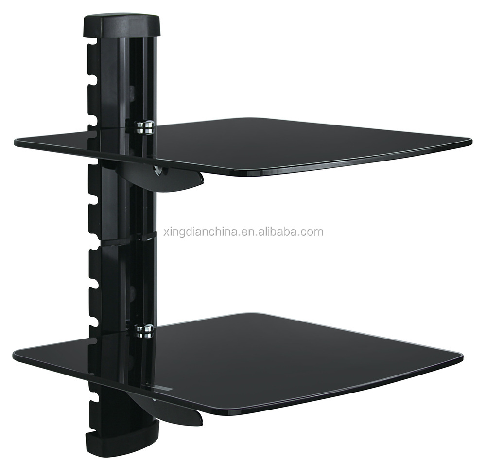 Wall Mount Bracket Dual Glass Shelf Under LCD TV Cable Box DVD