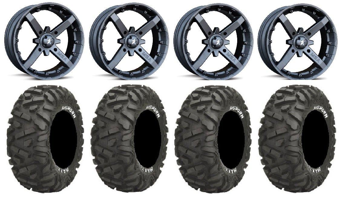 "Bundle - 9 Items: MSA Black Battle 14"" ATV Wheels 30"" BigHorn Tires [4x156 Bolt Pattern 12mmx1.5 Lug Kit]"