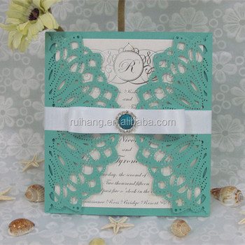 Blue Turquoise Elegant Laser Cut Wedding Invitation Buy Blue