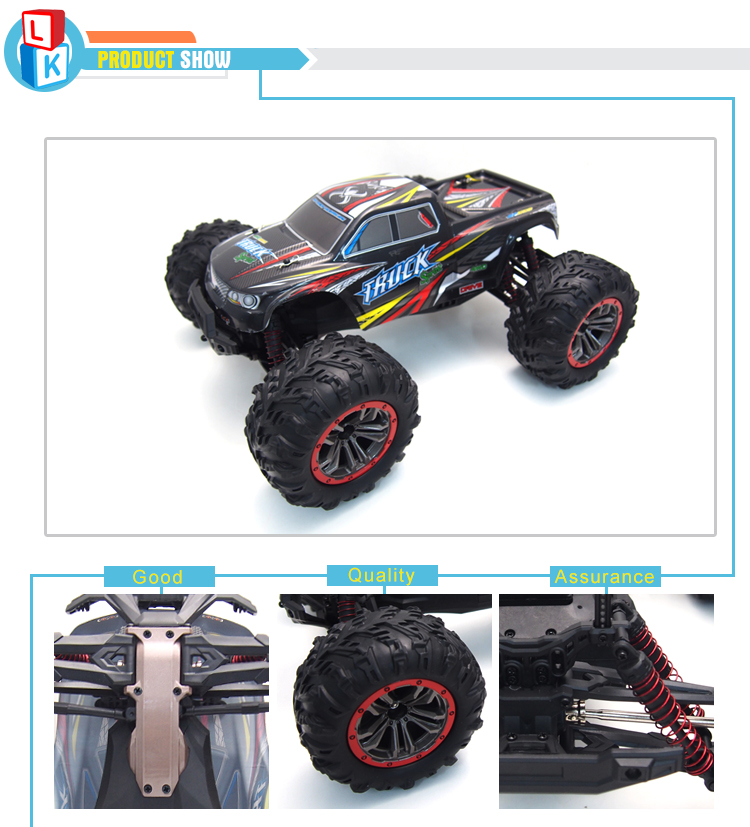 cool design 2.4G electric high speed racing model car 1:10 rc truck for kids
