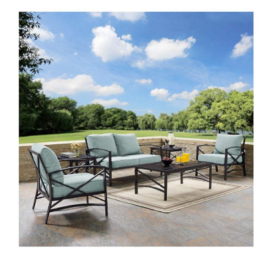 BESTChoiceForYou 6 PC Outdoor Seating Set With Mist Cushion - Loveseat, Two Chairs, Two Side Tables, Coffee Table