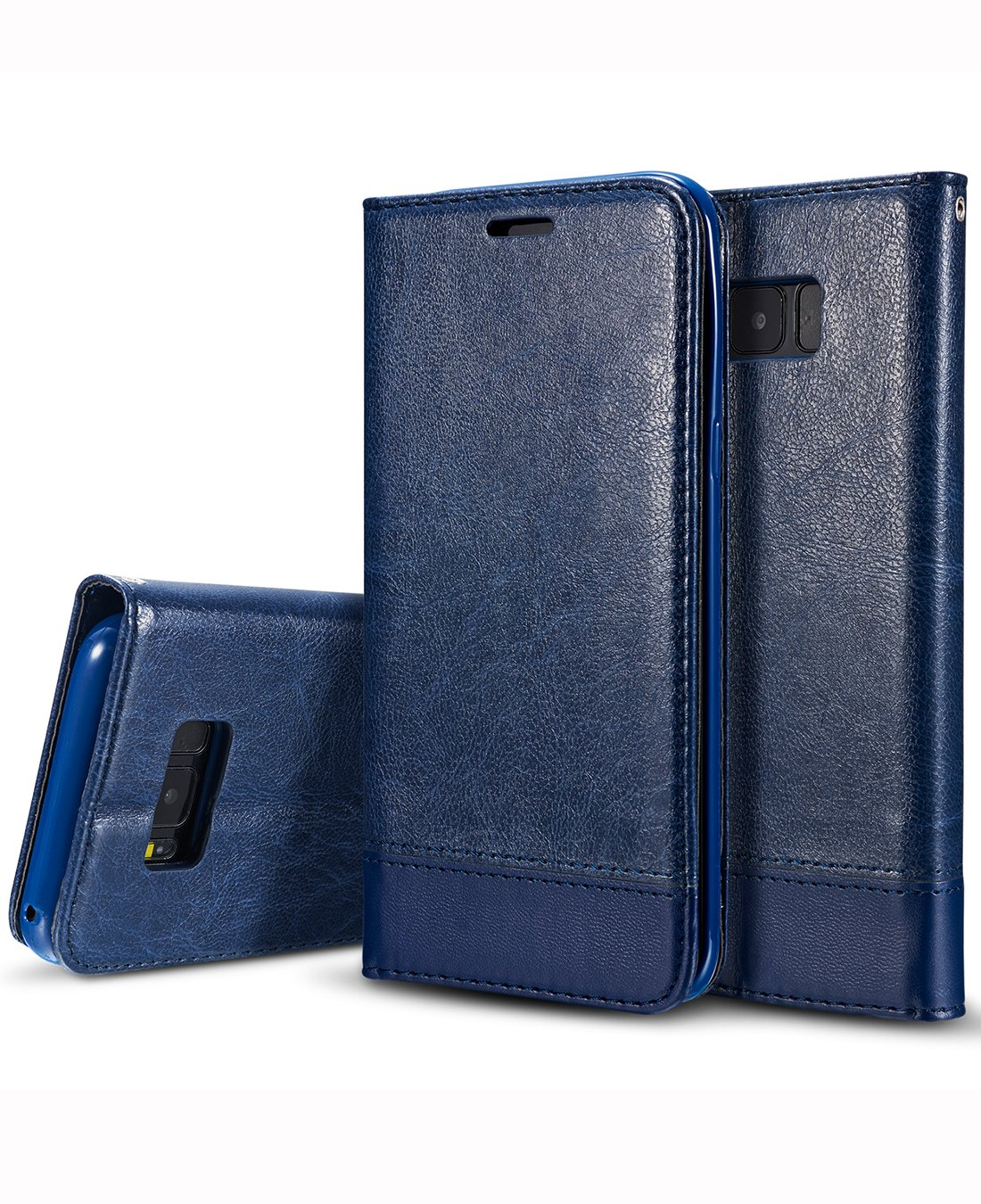 "Galaxy S8 Plus Case, Galaxy S8 Plus Flip Case, Crosspace S8 Plus Wallet Cases [Ultra Slim] PU Leather Folio Book Stand Cover with Card Slots for Samsung Galaxy S8 Plus 6.2""-Blue"