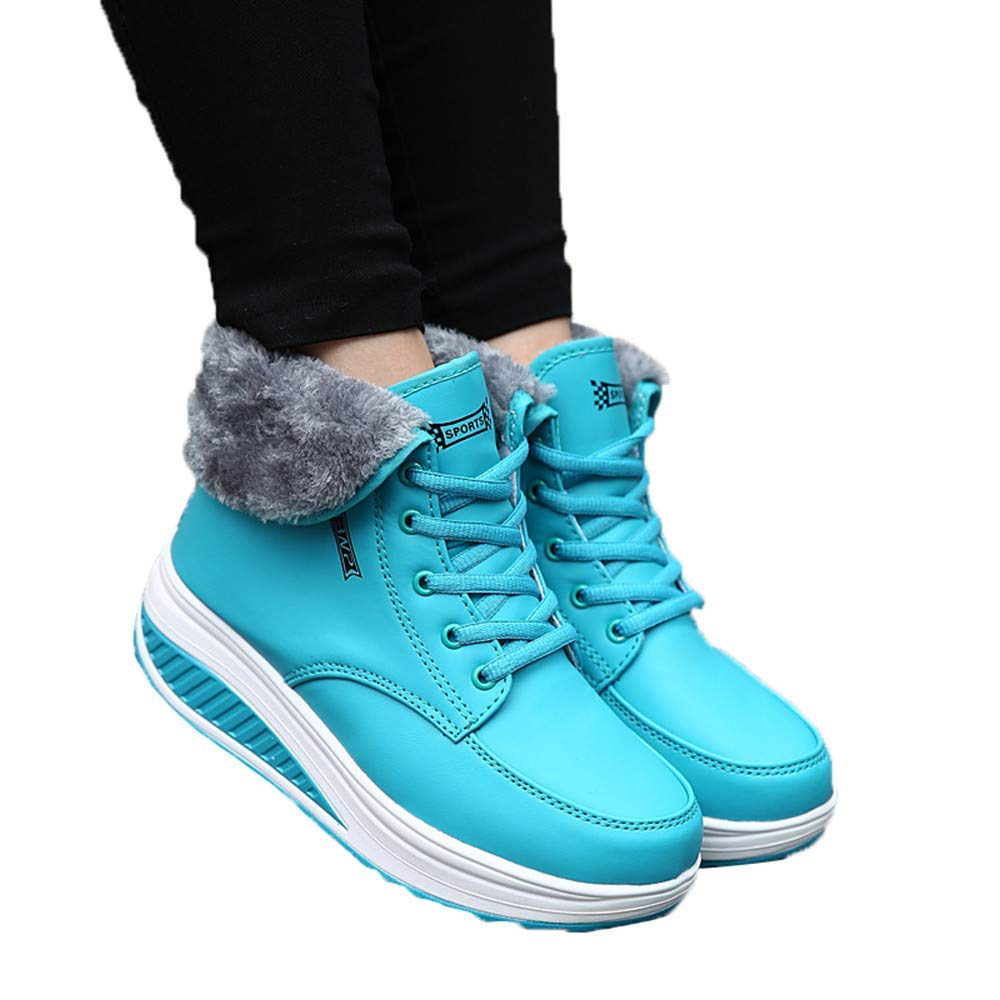 c57630f357a Get Quotations · Gyoume Thick Bottom Snow Boots Women Platform Wedge Boots  Lace Up Boots Shoes Teen Girls Boots