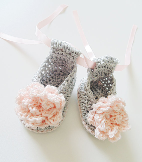 Grey Crochet Baby Ballerina Shoes in Cotton with Pink Crochet Flower Spring and autumn Crochet Baby