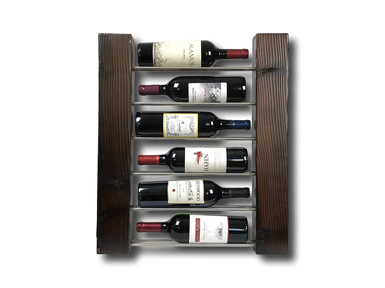 Shou Sugi Ban Wood Wine Rack - 6 Bottle Slim Design