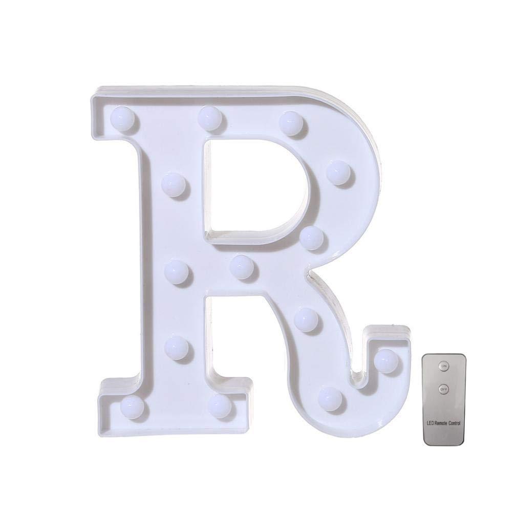 Alphabet Lights,Cocal Remote Control Alphabet Letter Lights LED Light up White Plastic Letters Stand (E)